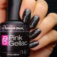 Pink Gellac  177 Glitterize Black Gel-Nagellack via pinkgellac.de