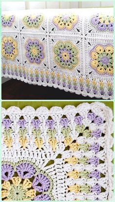 """Crochet Granny Spike Stitch Border Free Pattern only for borderCrochet Primavera Flowers Granny Square Free Pattern and Tutorial[Free Pattern] This Absolute Beauty """"Grannies And Ripples"""" Afghan Is One Of The Most Cleverly Worked Crocheted I've Granny Square Crochet Pattern, Crochet Blocks, Crochet Squares, Crochet Motif, Crochet Yarn, Crochet Stitches, Granny Square Tutorial, Flower Granny Square, Granny Square Afghan"""