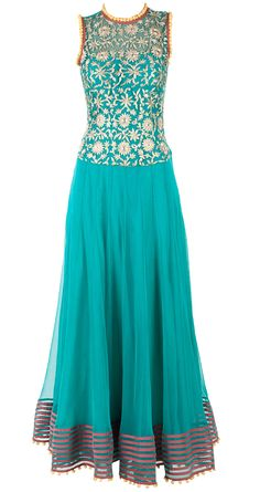 Sea green double layer anarkali available only at Pernia's Pop-Up Shop.