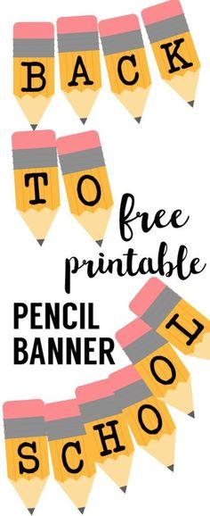 Welcome Back School Banner {Pencil Letters}. Free printable pencil banner letters for back to school teacher classroom or back to school door decorations.
