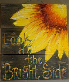 Sunflower Rustic Art sign Original Art by cackleblossums on Etsy, $59.00