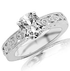 1.18 Carat Antique / Vintage Bezel Set Diamond Engagement Ring With Milgrain with a 1 Carat Cushion Cut I-J Color SI2 Clarity Center Stone and 0.18 Carats of Side Diamonds