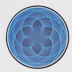 string art BLUE LOTOS zen mandala art spiritual zen sacred