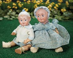 What Frolicks Are Here: 344 Two German Bisque Bonnet-Head Googly Dolls by Recknagel