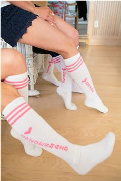 """Bridesmaid gift idea - white + pink knee-high """"Bridesmaid"""" socks - perfect for getting ready {Candace Jeffery Photography}"""
