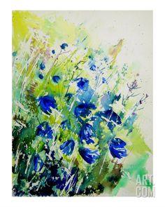 Giclee Prints Watercolors Prendergast | Watercolor Bluebell Flowers Giclee Print