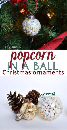 Pop popcorn inside a glass christmas ornament for a fun twist on Popcorn Christmas decoration