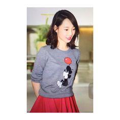 """Chinese actress Bai Bai He wearing the balloon Mickey jumper #china"""