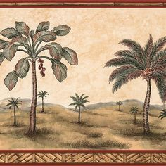 Brewster Tawny Palm Tree Border Wallpaper | Overstock.com Shopping - The Best Deals on Wallpaper