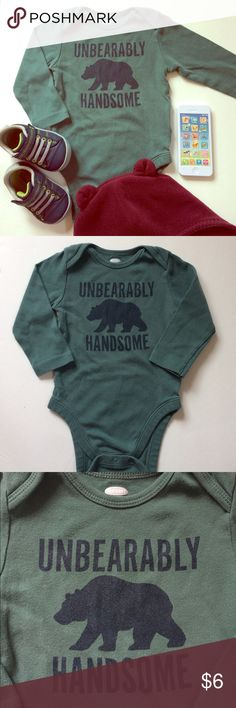 """""""Unbearably Handsome"""" Long Sleeve Bodysuit Super cute and comfortable. Perfect for layering or wearing alone. 100% cotton, stretchy with three snap buttons. In good condition! Old Navy One Pieces Bodysuits"""
