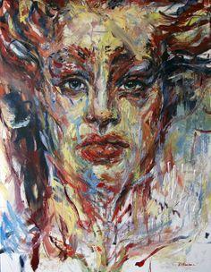 2016 | Stoic by Judy Volkmann #figurative #expressionist #art #portrait #woman #beautiful #contemporaryart #painting #artforsale #judyvolkmann Oil Paintings, Figurative, Contemporary Art, Woman, Portrait, Beautiful, Men Portrait, Oil On Canvas, Portraits