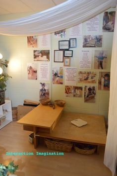 """Boulder Journey School- """"creating space for play that is attractive - to adults and children. Displaying images of the children to make their learning through play visible to the children and parents. To allow the children to feel valued for who they are and what they are doing."""" By Interaction Imagination ≈≈ http://pinterest.com/kinderooacademy/provocations-inspiring-classrooms/"""