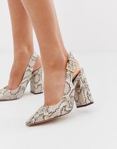 a46464c6d4a5e River Island sling back pumps in snake print Comfy Heels, Comfortable Heels,  Wedge Shoes