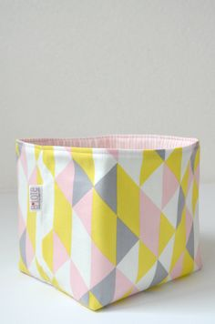 Organic Fabric Basket - Modern Geometric in Soft Gray, Yellow, Pink and White. $26.00, via Etsy.