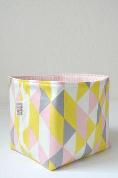 Organic Fabric Basket - Modern Geometric in Soft Gray, Yellow, Pink and White. $26.00, via Etsy.