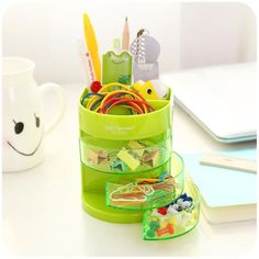 Cute Color Stand Holder for Pen Pencil Eraser Table Organizer