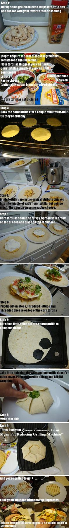 Homemade Crunch Wrap Supremes (these are my kind of directions as well!!)