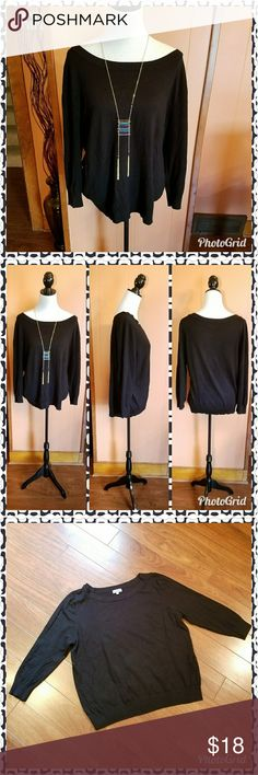 Soft black sweater The sweater is soft and cozy. With a scoop neckline and long sleeves. Excellent used condition. Joseph A Sweaters