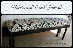 Lipstick and Sawdust: Damask Upholstered Bench