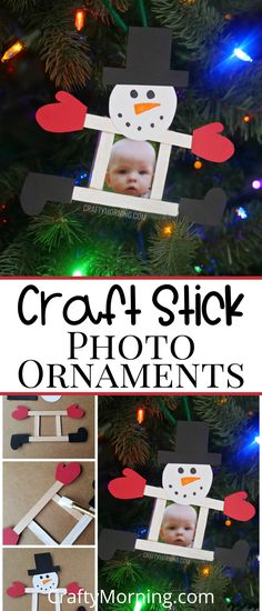 Snowman Popsicle Stick Ornament - Photo personalized homemade christmas ornament for kids to make. art project/diy project Christmas Activities For Toddlers, Christmas Decorations For Kids, Photo Christmas Ornaments, Christmas Crafts For Kids To Make, Diy Gifts For Kids, Personalized Christmas Ornaments, Diy Christmas Gifts, Kids Christmas, Holiday Crafts