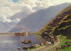 Themistokles von Eckenbrecher (German, 1842–1921), View of Laerdalsoren, on the Sognefjord, 1901