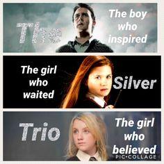 The silver trio: Ginny, Neville and Luna.