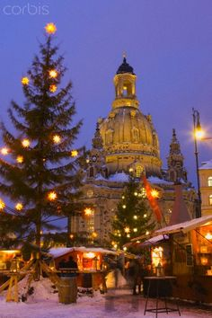 Christmas Market in the Neumarkt with the Frauenkirche (Church) in the background, Dresden, Germany