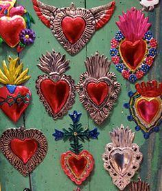 photo of Colored Tin Mexican Milagro Hearts Pop Art Bilder, Tin Art, I Love Heart, Thinking Day, Mexican Folk Art, Sacred Heart, Heart Art, Religious Art, Kitsch