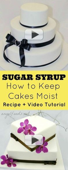How to keep cakes moist or fresh, by adding layers of cake, sugar syrup and icing or ganache, especially under fondant cakes, which makes a more tender and Buttercream Cake, Fondant Cakes, Cupcake Cakes, Cake Decorating Techniques, Cake Decorating Tutorials, Decorating Supplies, Decorating Ideas, Metallic Cake, Pastry Cook