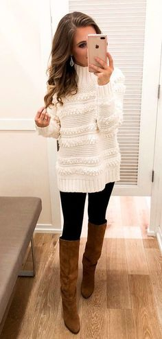 #winter #outfits white turtleneck sweater and brown leather knee-high boots