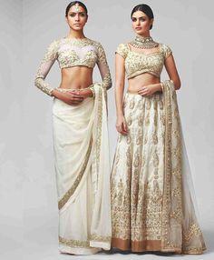 Rohit Bal White & Gold Lehenga and Saree. Mode Bollywood, Bollywood Fashion, Indian Look, Indian Ethnic Wear, India Fashion, Asian Fashion, Indian Dresses, Indian Outfits, Gold Lehenga