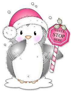 Digital (Digi) Cute Penguin Stamp 'Santa Stop Here' . Makes Cute Christmas Cards.
