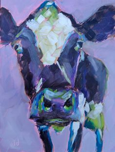 Cow 53 Purple vibe original small cow oil by JeanDelaneyart