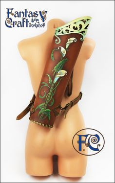 Please pay your attention to checking ~shipping & policies~ to determine processing time before the shipping.  Handcrafted leather quiver.  Unique design. Good for LARP, Cosplay, Renaissance Medieval costumes.  Made of 3-3.5 mm leather and painted by resistant acrylic paint. Protected with a water resistant coating.  You can order arm guard, glove or finger tabs like on this pictures in custom order: https://www.etsy.com/listing/222273644/leather-quiver?ref=shop_home_active_14  Have a…