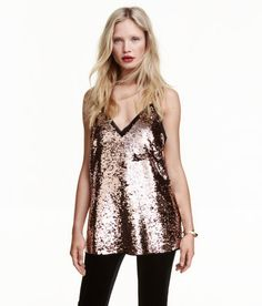 Check this out! V-neck top in sequin-embroidered chiffon with narrow shoulder straps and raw edges at top. Lined. - Visit hm.com to see more.