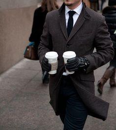 #mesnwear #dapper #steet #style #suit #tie #leather #gloves #coat #coffee #blog #Man in Pink | Good morning