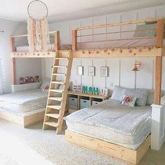 I love this room by messick It seriously makes me wish I could be a kid again! Well maybe just for the day! 🤔😂 These bunk beds are amazing and how adorable is that dream catcher h is part of Bunk bed rooms - Bed For Girls Room, Teen Girl Bedrooms, Girl Room, Shared Bedrooms, Cute Beds For Girls, Cool Rooms For Kids, Bedroom For Kids, House Beds For Kids, Cool Dorm Rooms
