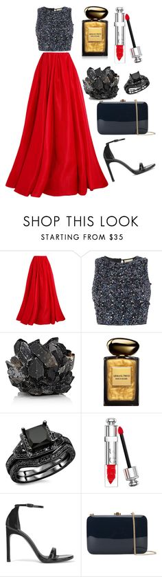 """The Show Off"" by maryamabada on Polyvore featuring Reem Acra, Lace & Beads, McCoy Design, Giorgio Armani, Christian Dior, Stuart Weitzman and Rocio"