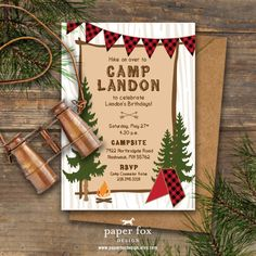 Buffalo Plaid Invitation Camp Theme Printable