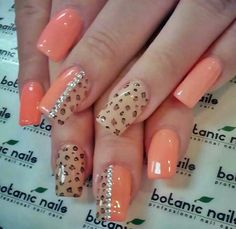 Orange, diamond, leopard nails