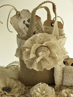 Adorable burlap bag with lace flower and ruffle around the top