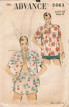 Vintage 1949 Advance pattern, mens swimsuit and cabana set