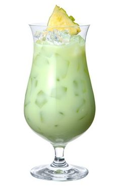 Green eyes: my fave cocktail made with Midori melon liquer. MIDORI (1oz), Malibu Rum (1oz), Cream of coconut (1/2oz), fresh Lime Juice (1/2oz) and Pineapple Juice (1 1/2oz). Pour ingredients over ice into a glass, and stir gently. Garnish with a pineapple wedge.
