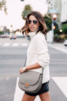 cream turtleneck sweater - celine bag | vivaluxury