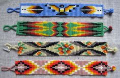 Indian Beadwork Patterns and Designs | Native American Style - Bracelet 15 row bead