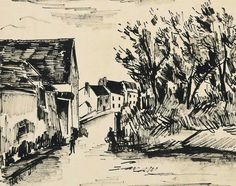 Maurice de Vlaminck (French, 1876-1958),Rue à Harly. Pen and India ink on paper, 35 x 44.3 cm.
