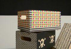 Caja de madera maciza decorada con decoupage estampado de rombos. www.elpiojito.es