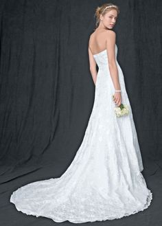 Allover lace A-line gown with beaded motif detail - David's Bridal