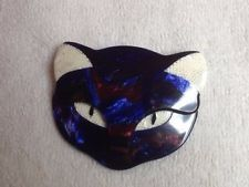 Lea Stein colorful cat face pin - iridescent - striking