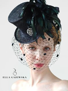 Mini Top Hat - Black with Mysterious Birdcage Veiling - Steampunk Accessory - Mad Hatter - Handmade Millinery - Elegant Feathers Fascinator - Racing Accessories - Gothic Aristocrat - Victorian Inspired